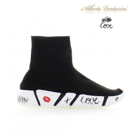 Sneaker Calzino ''Love Kiss'' nero